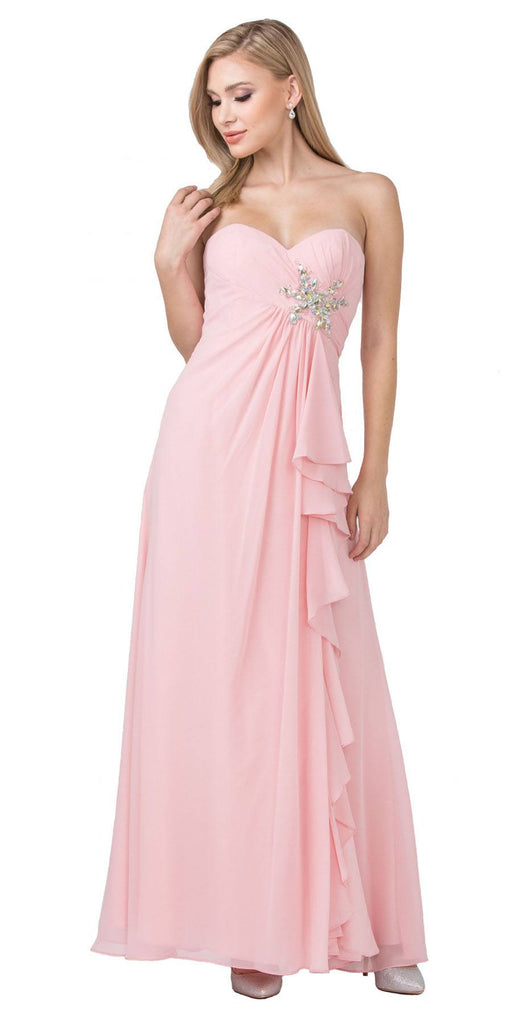 Starbox USA 533 Ruffled Thigh Slit Strapless Long Blush Column Gown