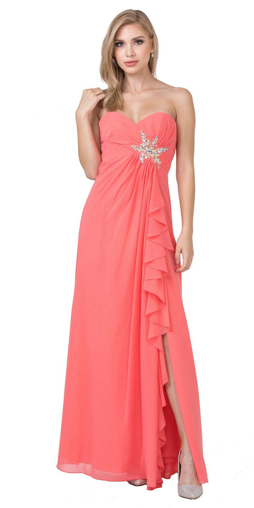 Starbox USA 533 Ruffled Thigh Slit Strapless Long Coral Column Gown
