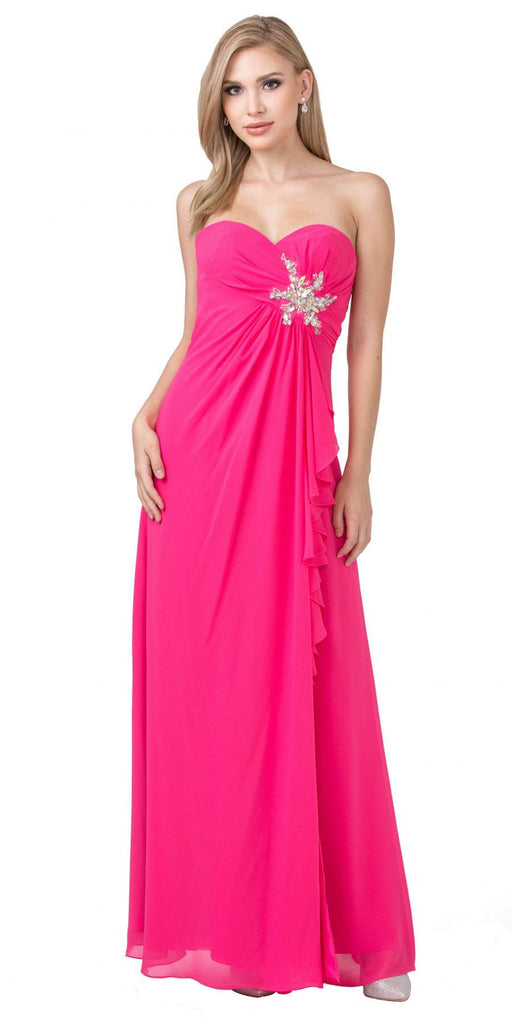 Starbox USA 533 Ruffled Thigh Slit Strapless Long Fuchsia Column Gown