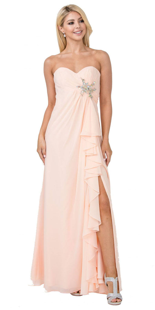Starbox USA 533 Ruffled Thigh Slit Strapless Long Peach Column Gown