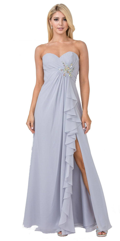 Starbox USA 533 Ruffled Thigh Slit Strapless Long Silver Column Gown