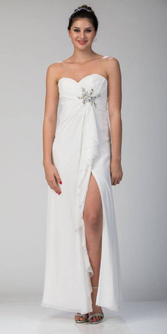 Ruffled Thigh Slit Strapless Long Off White Column Gown