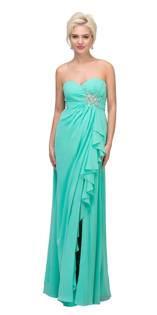 Starbox USA 533 Ruffled Thigh Slit Strapless Long Mint Column Gown