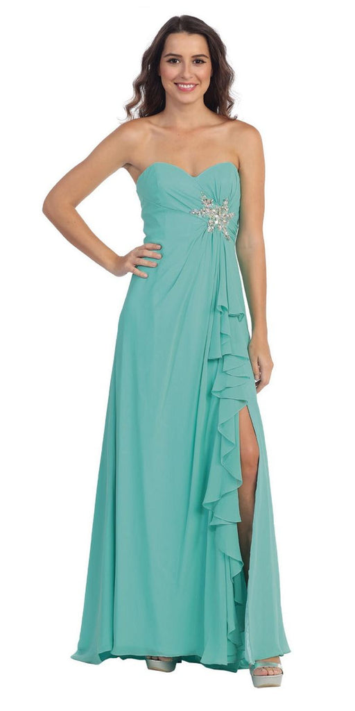 Starbox USA 533 Ruffled Thigh Slit Strapless Long Jade Column Gown