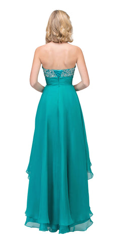 Starbox USA 534 Studded Bodice Strapless High Low Jade Layered Prom Dress Back View