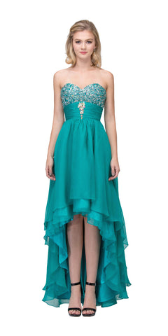 Starbox USA 534 Studded Bodice Strapless High Low Jade Layered Prom Dress