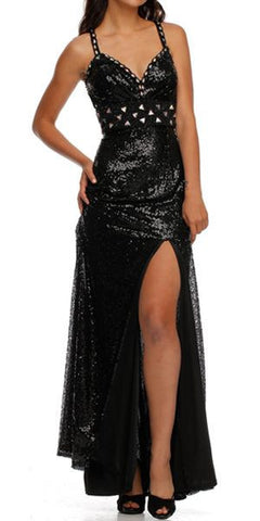 Tea Length Black Sequins Dress Sexy Side Slit Spaghetti Straps