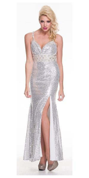 Tea Length Silver Sequins Dress Sexy Side Slit Spaghetti Straps