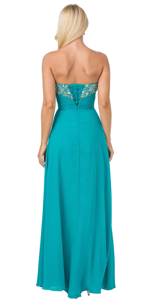Starbox USA 536 Long Strapless Jade A-Line Dress Embellished Bodice Leg Slit