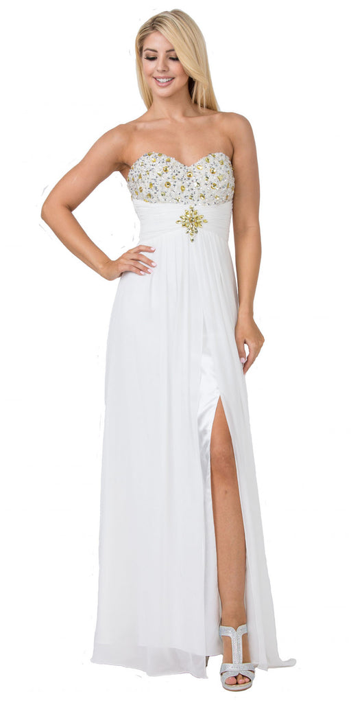 Starbox USA 536 Long Strapless Off White A-Line Dress Embellished Bodice Leg Slit