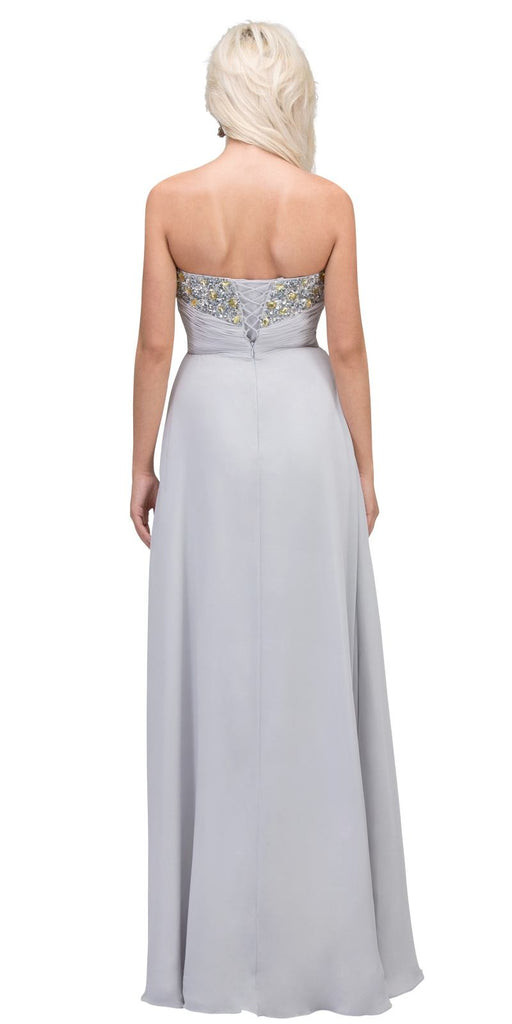 Starbox USA 536 Embellished Bodice Strapless Long Silver Column Gown Back View