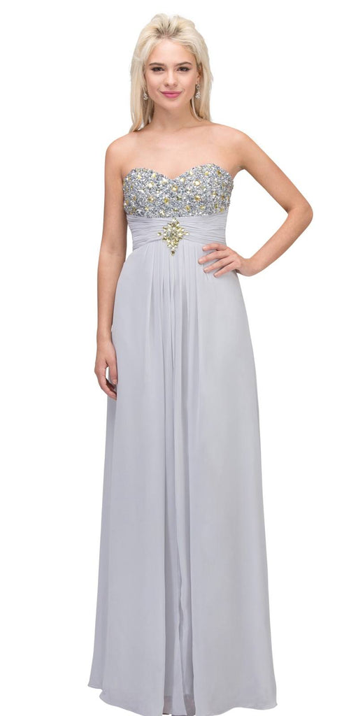 Starbox USA 536 Embellished Bodice Strapless Long Silver Column Gown