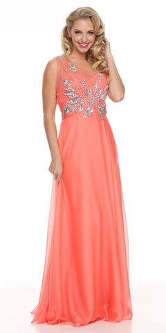 Sheer One Shoulder Studded Long A Line Coral Formal Gown