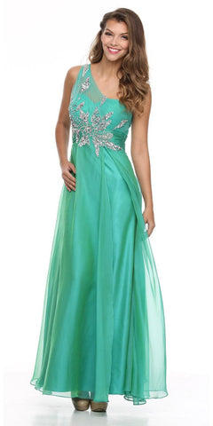 Sheer One Shoulder Studded Long A Line Jade Formal Gown