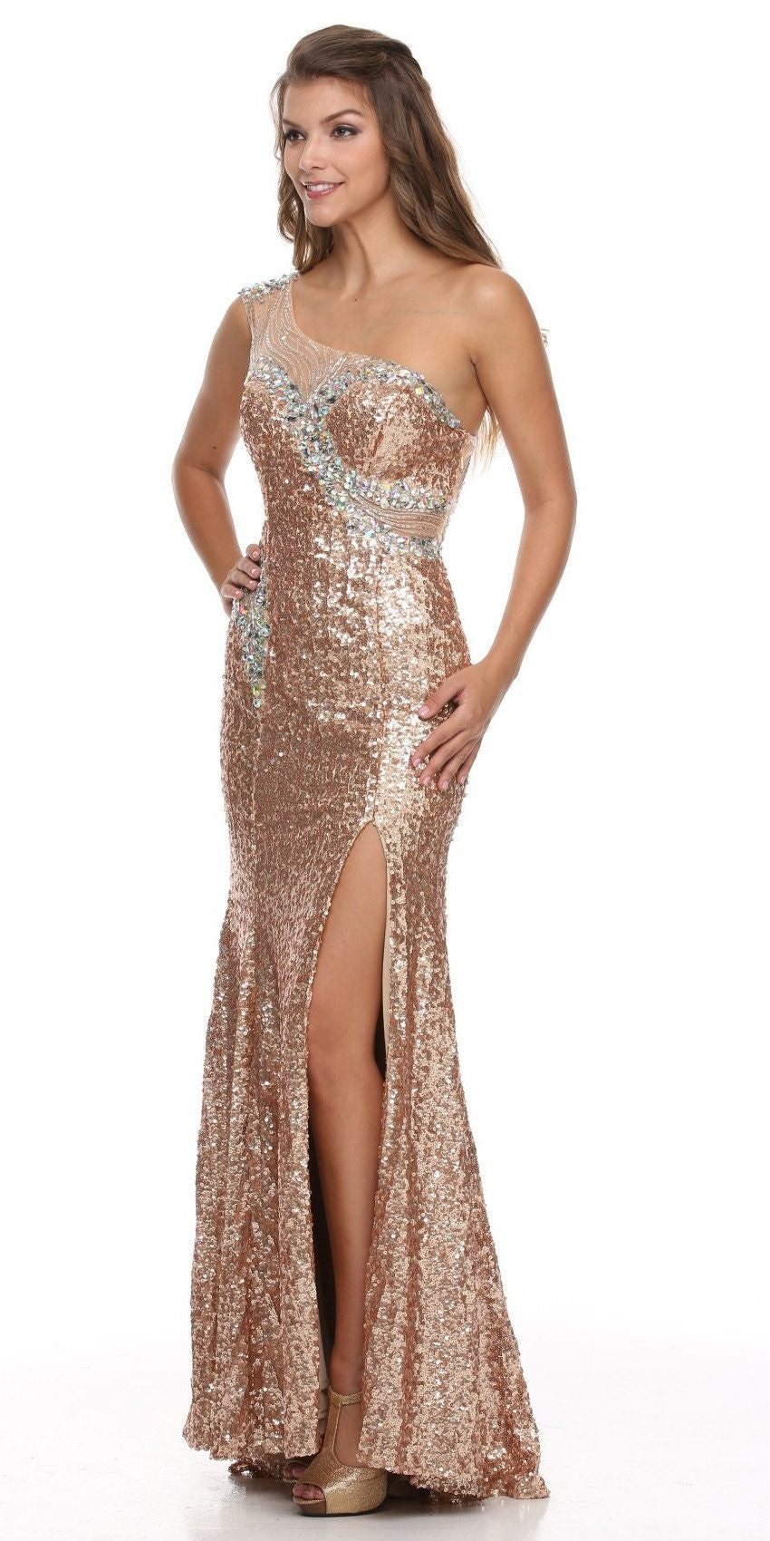 Sheer One Shoulder Long Champagne Red Carpet Mermaid Gown