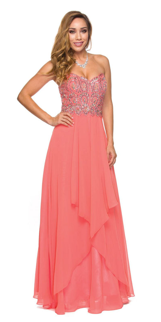 Layered Strapless Sweetheart Neck Coral Prom Dress