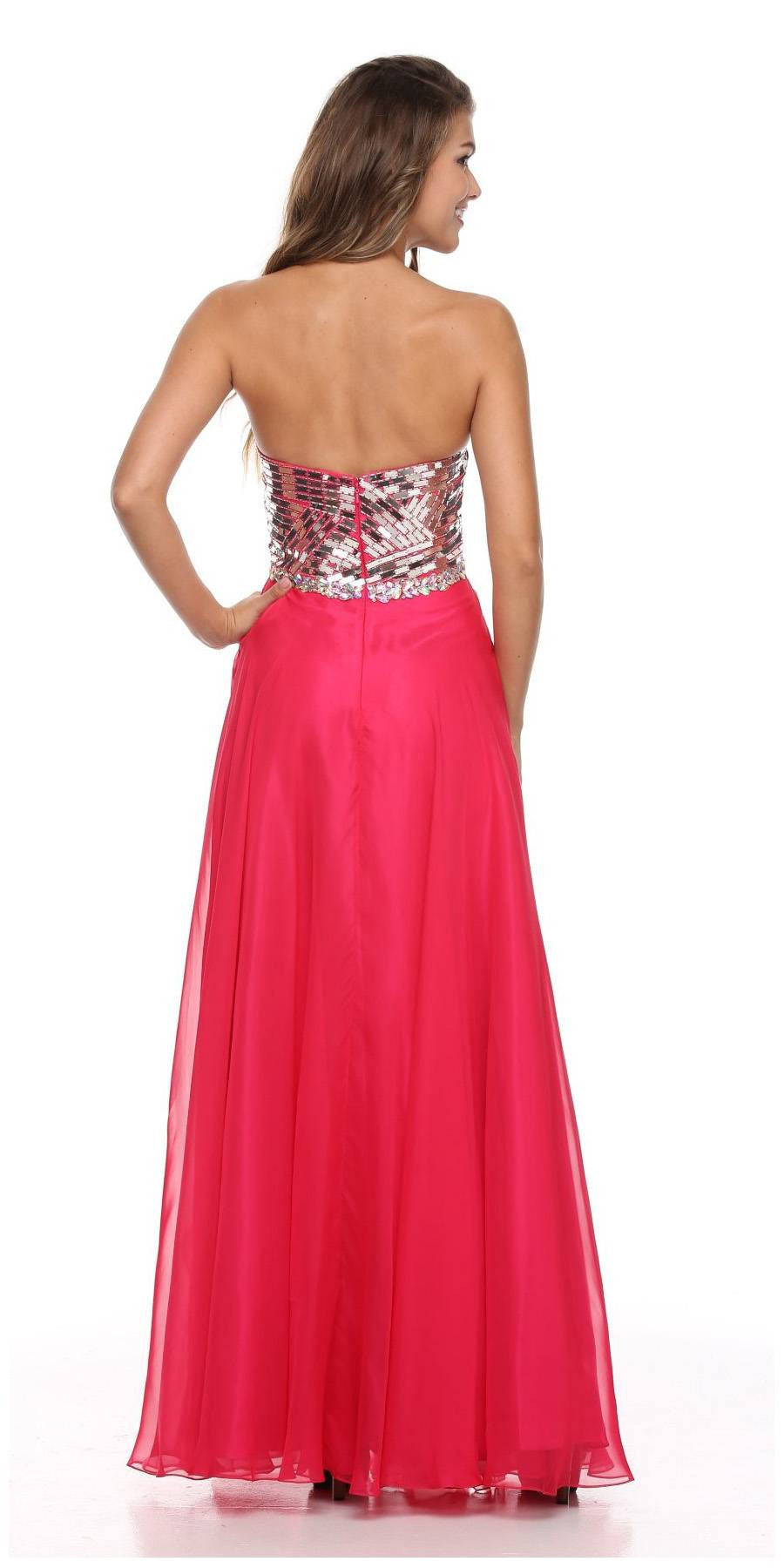 Floor Length A Line Strapless Layered Fuchsia Prom Dress