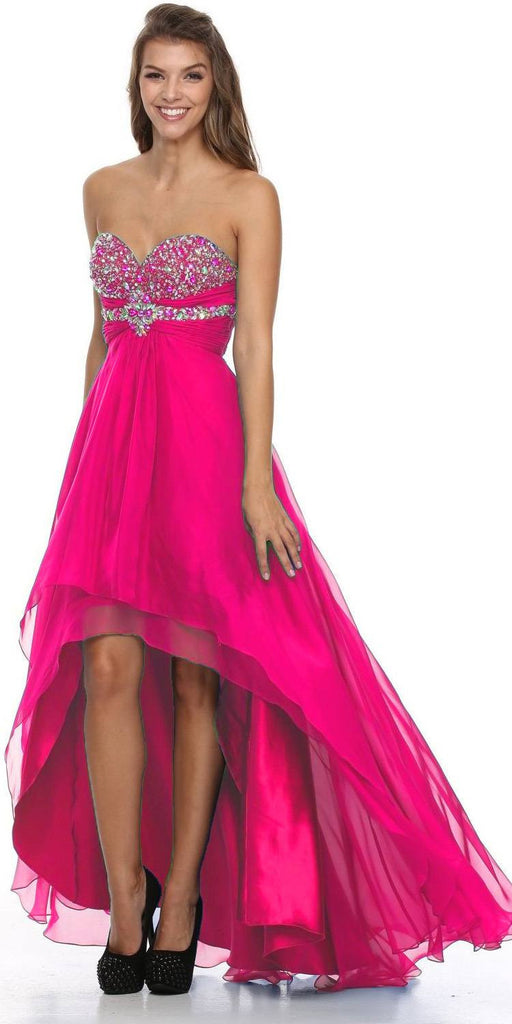 High Low Strapless Studded Empire Waist Fuchsia Prom Dress