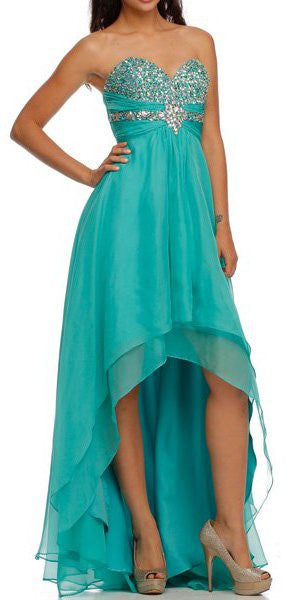 High Low Strapless Studded Empire Waist Jade Prom Dress