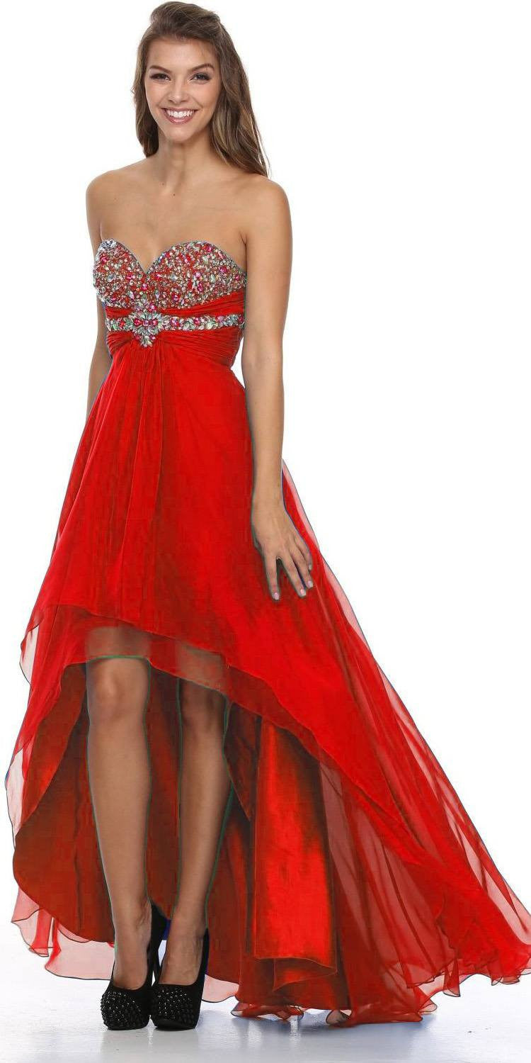 High Low Strapless Studded Empire Waist Red Prom Dress