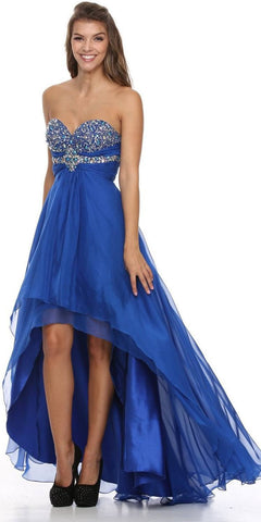 High Low Strapless Studded Empire Waist Royal Blue Prom Dress