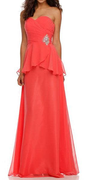 Ruched Strapless Bodice Long Coral Column Formal Dress