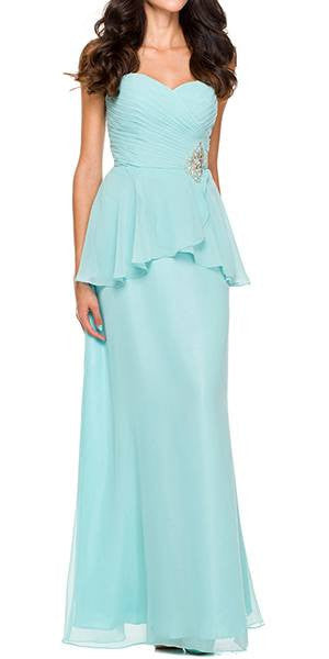Ruched Strapless Bodice Long Light Aqua Semi Formal Dress