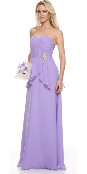 Ruched Strapless Bodice Long Lilac Column Formal Dress