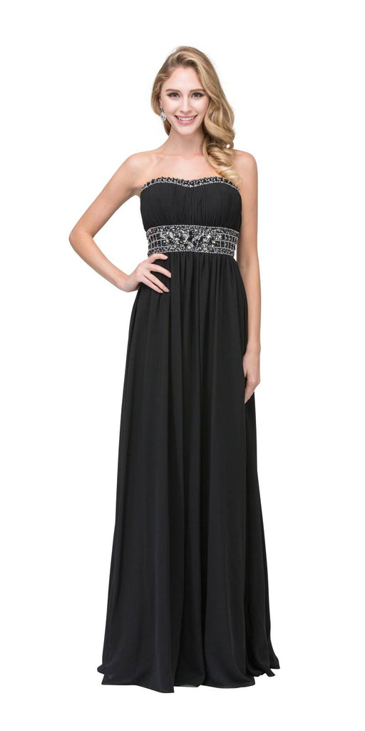 Ruched Bodice Studded Empire Waist Black Formal Gown