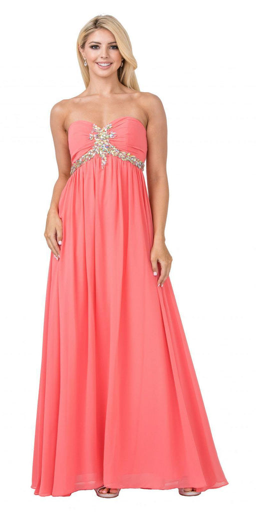 Starbox USA 547 Pleated Strapless Studded Long Coral A Line Prom Gown