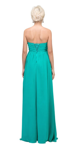 Starbox USA 547 Pleated Strapless Studded Long Jade A Line Prom Gown