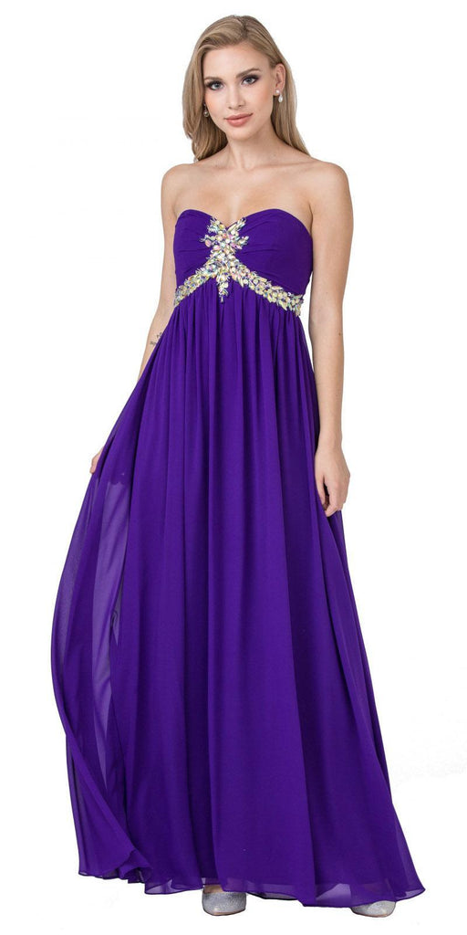Starbox USA 547 Pleated Strapless Studded Long Purple A Line Prom Gown