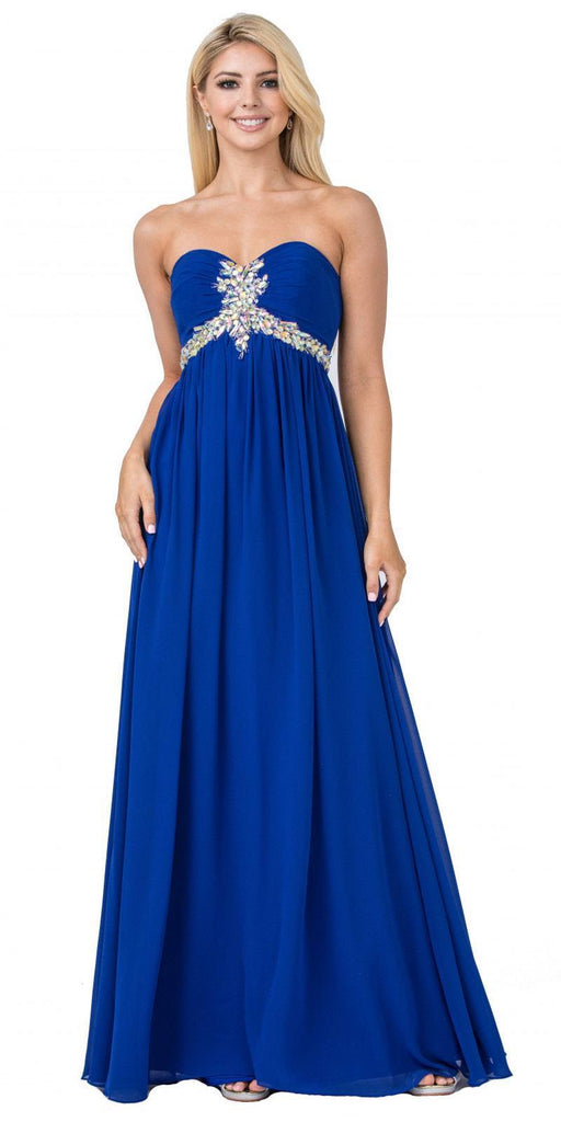Starbox USA 547 Pleated Strapless Studded Long Royal Blue A Line Prom Gown