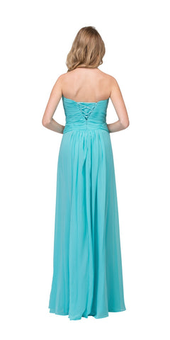 Starbox USA 548 Studded Sweetheart Neck Tiffany Blue Long A Line Prom Strapless Gown Back View