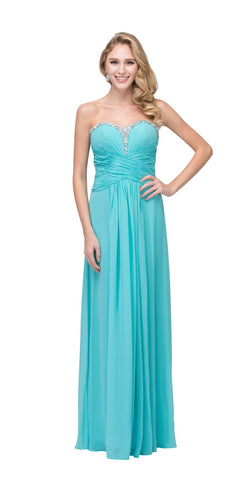 Starbox USA 548 Studded Sweetheart Neck Tiffany Blue Long A Line Prom Strapless Gown