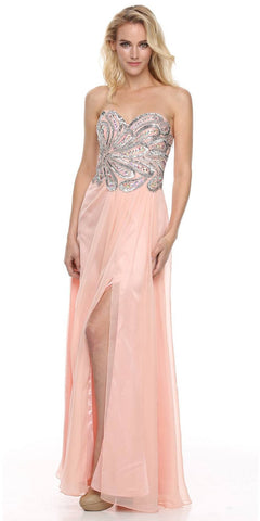 Beaded Bodice Long Strapless Thigh Slit Peach Formal Gown
