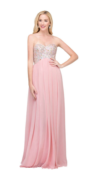 Starbox USA 549 Sparkly Sweetheart Blush Prom Dress Empire Leg Slit