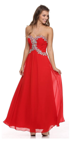 Studded Corset Bodice Long Strapless Red Formal Dress