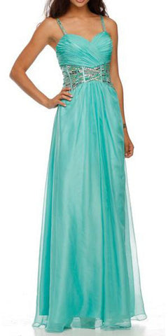Sleeveless Spaghetti Strapped Long Jade Formal Dress