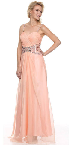 Sleeveless Spaghetti Strapped Long Peach Formal Dress