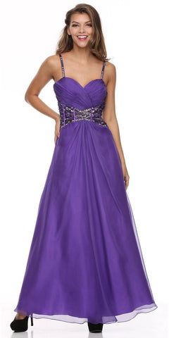 Sleeveless Spaghetti Strapped Long Purple Formal Dress