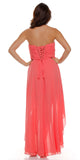 High Low Ruched Bodice Strapless Layered Coral Bridesmaid Dress Back View