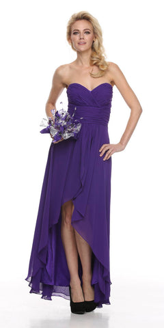High Low Ruched Bodice Strapless Layered Purple Bridesmaid Dress Back View