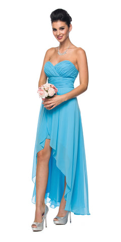 High Low Ruched Bodice Strapless Layered Turquoise Bridesmaid Dress