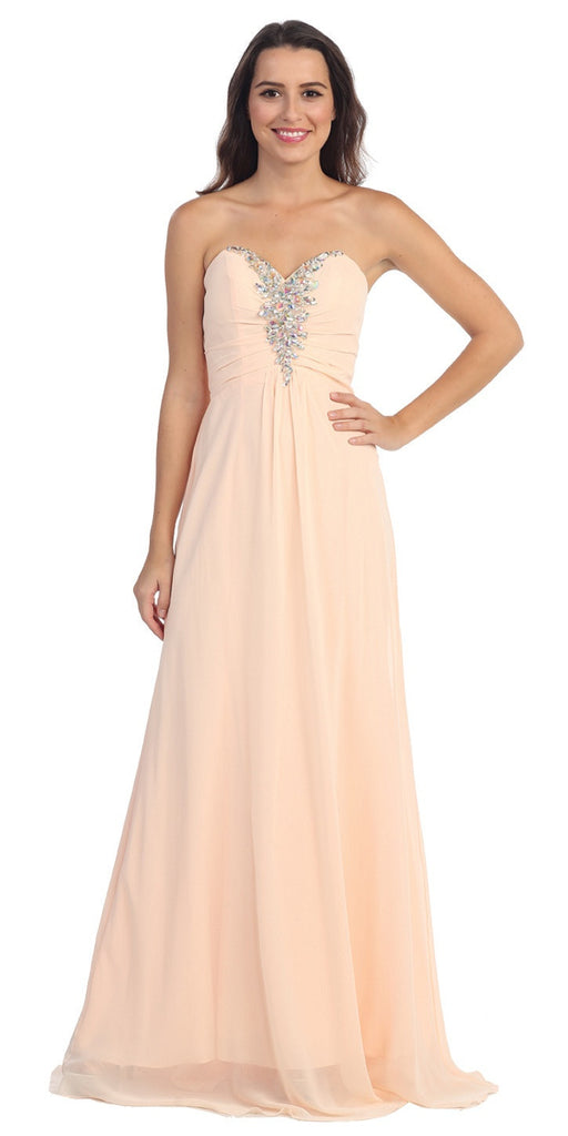 Rhinestone Studded Ruched Bodice Peach Long A Line Gown