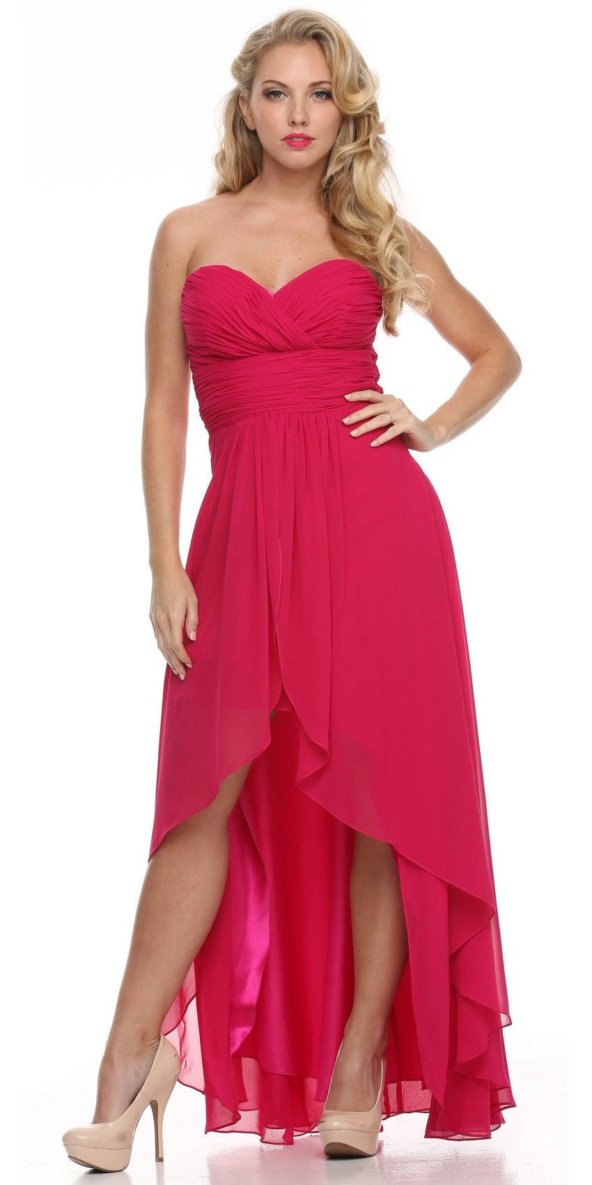 High Low Ruched Bodice Strapless Layered Fuchsia Bridesmaid Dress