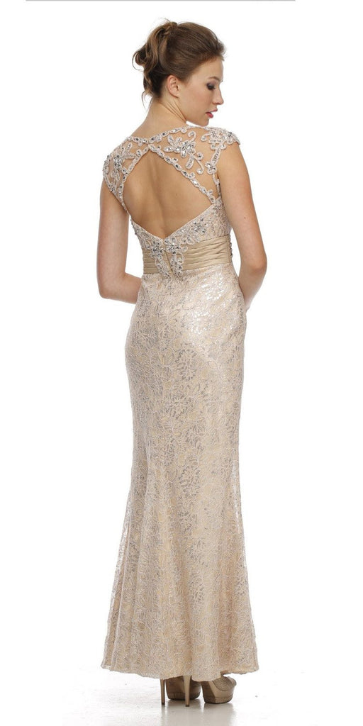 Cap Sleeved Jewel Neckline Long Champagne Mermaid Dress
