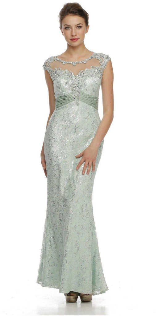 Cap Sleeved Jewel Neckline Long Mint Mermaid Dress