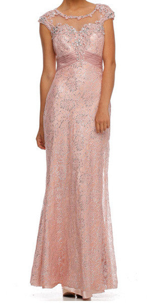 Cap Sleeved Jewel Neckline Long Rose Mermaid Dress
