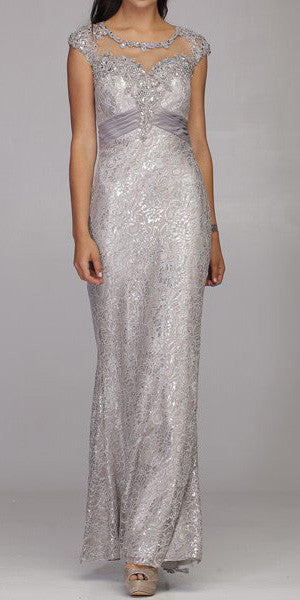 Cap Sleeved Jewel Neckline Long Silver Mermaid Dress